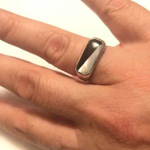 Sterling, Mother of Pearl, Onyx, Artistan Ring